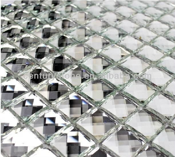 Luxury Thirteen Facets Diamond Mirror Crystal Glass Mosaic Tile