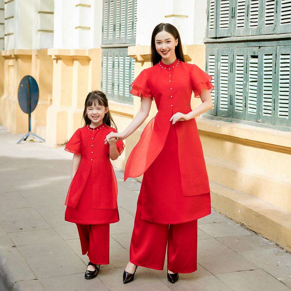 Mommy and Me Ao Dai Vietnam Traditional Outfits Girls Women Button Mom and Baby Ao Dai