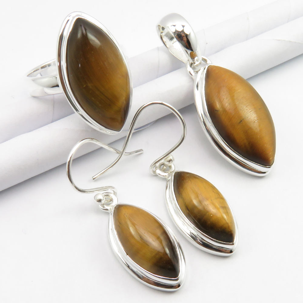 925 Solid Silver Genuine Tiger's Eye Pendant Earrings Ring #7 SET Gift 16.7 gms
