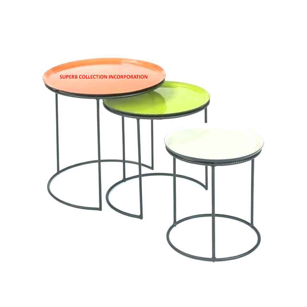 Multi Color Enamel Top Iron frame Round Nesting Coffee table Direct India factory Sale