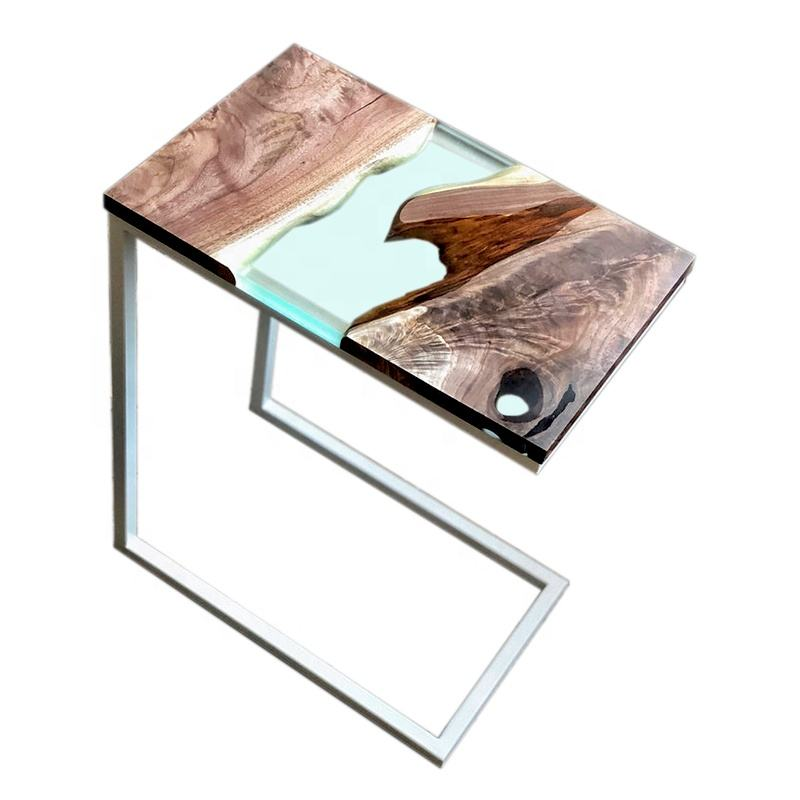 American Walnut and Epoxy Table Wood, Epoxy combination bedside solid wood table for bedroom