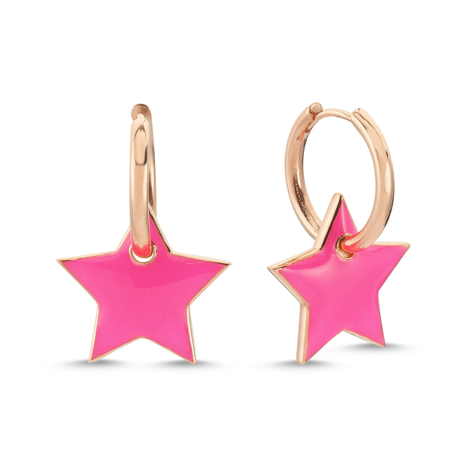 925 Sterling Silver New Trend Neon Enamel Star Hoop Earring Wholesale Fashionable Turkish Jewelry