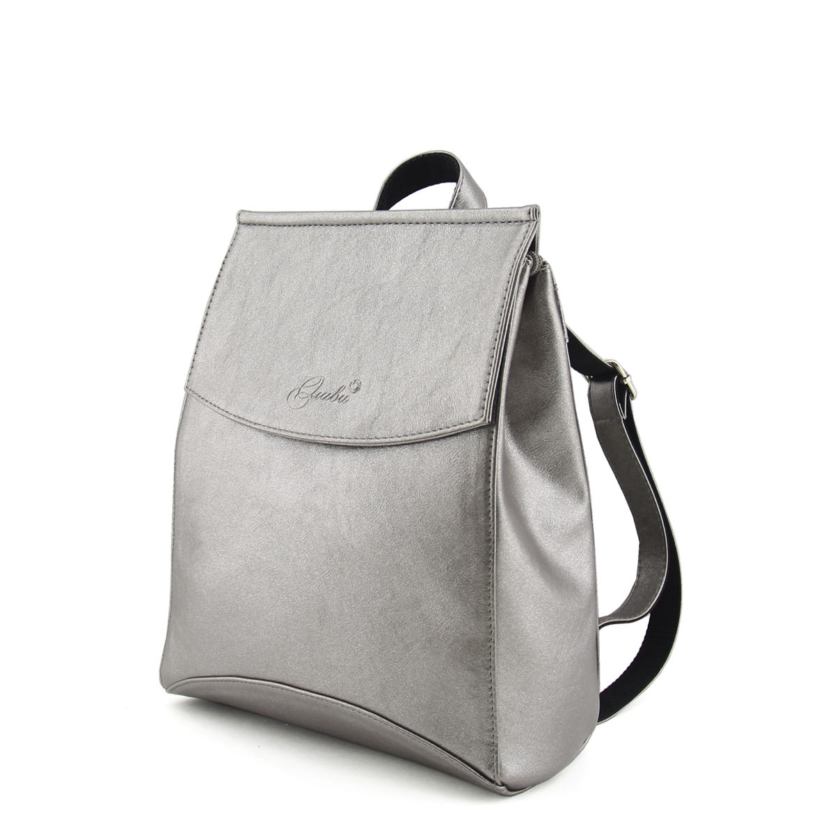 Medium-sized artificial leather backpack with two adjustable hand straps