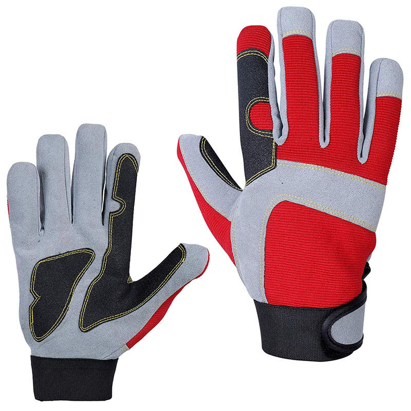 Wholesale Safety Industrial Construction PU Leather Mechanical Work Hand Gloves Use For Men's