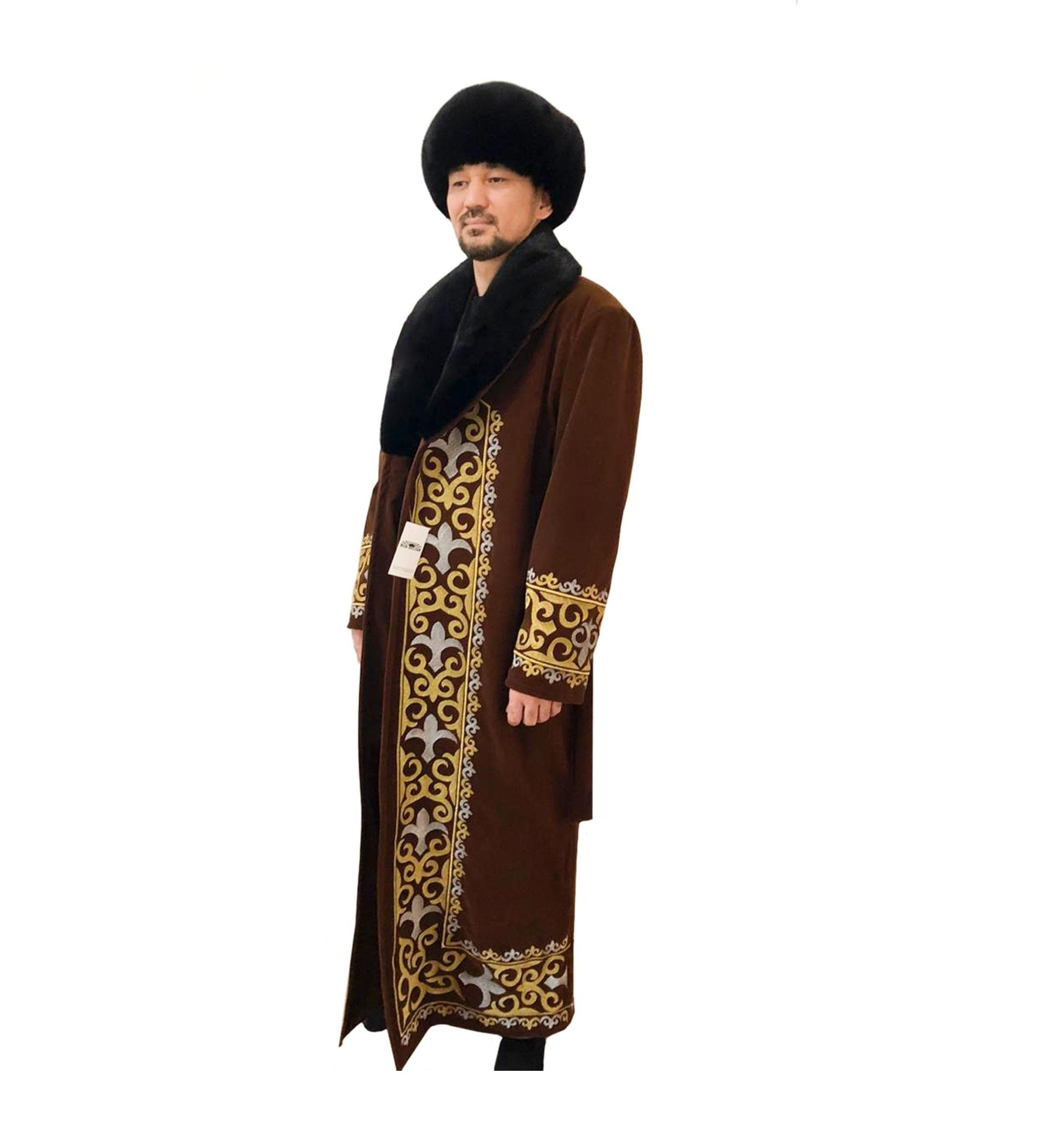 Kazakh national style traditional Men velvet Beshmet caftan coat outerwear clothing