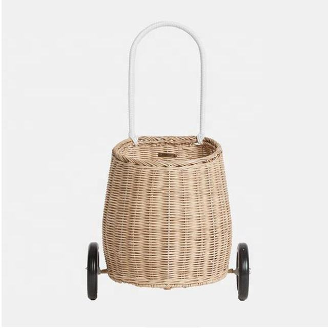 Eco Friendly Kids Products Picnic Baby Vietnam Wicker Woven Handmade Natural Rattan Wheeled Basket