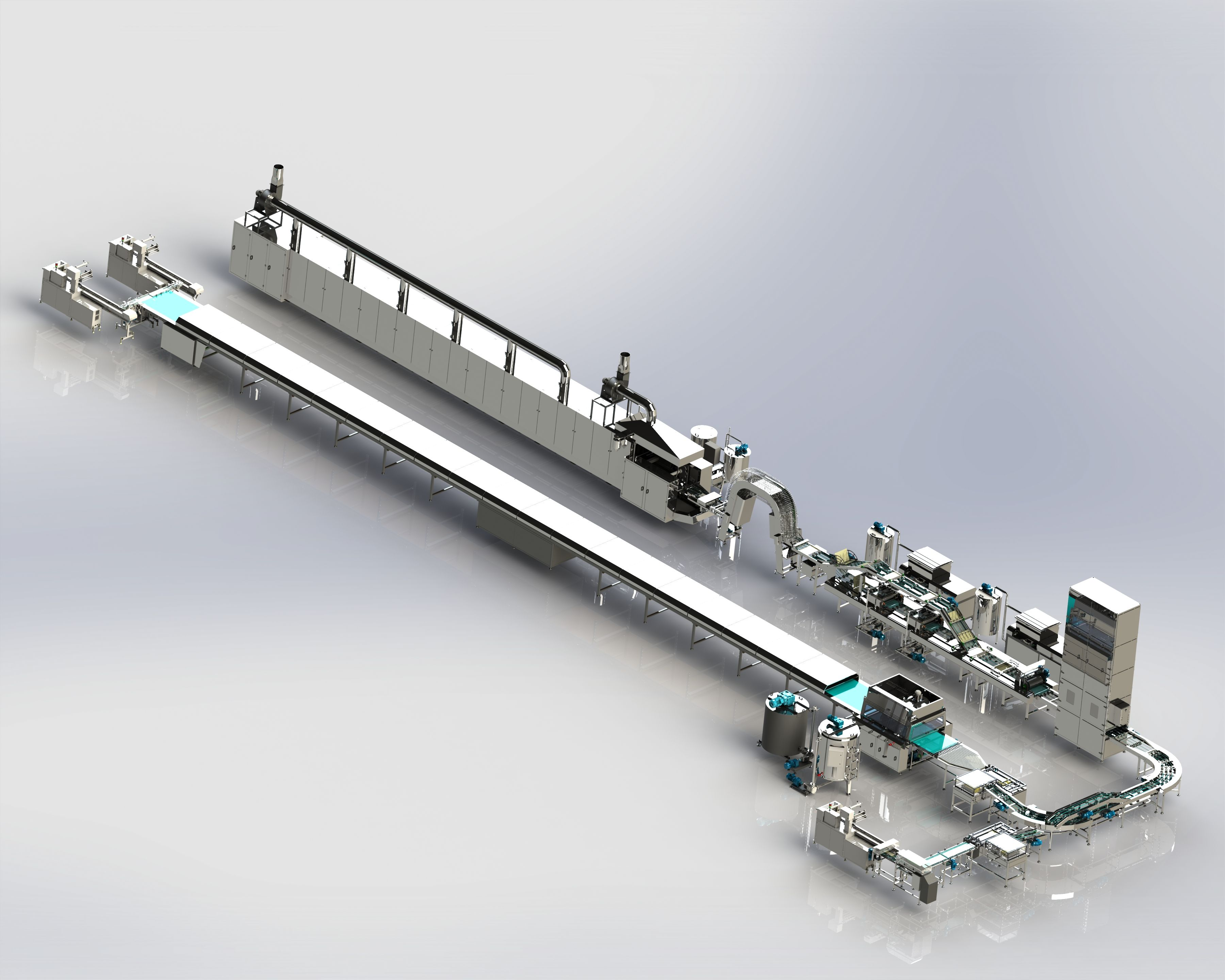 Wafer Production Line - Wafer Baking Oven - Cream Spreading Machine - Block Cooling Tower - Wafer Cutting Unit