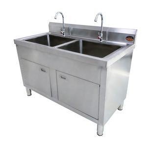 Double bowl commercial stainless steel kitchen sink