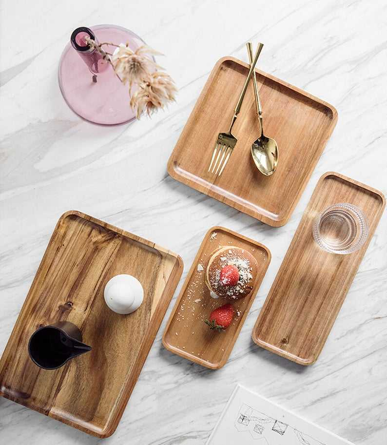 Wooden Tray, Wooden Dishes Natural Wood Tray, Wood Serving Tray,