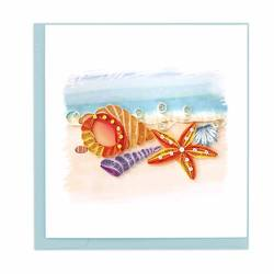 Quilled Seashells Card With Designs Features Orange And Purple Shells Collected With A Red Seahorse
