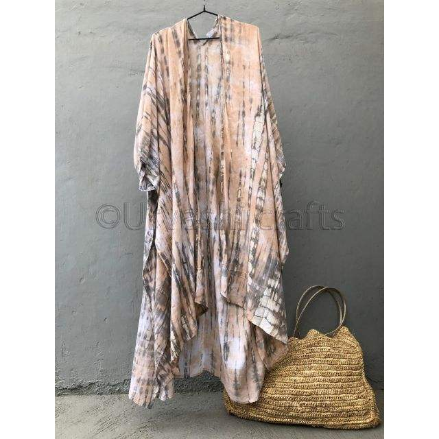 2019 Attractive Tie Dye Rayon Long Kimono Wrap Dress Boho Lady Beach Summer Holiday Cover Up Sexy Resort Wear Women's Collection