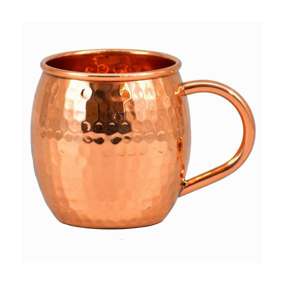 Unique shiny exterior glimmers Pure Copper Material Drinking Hammered Mug With Handle