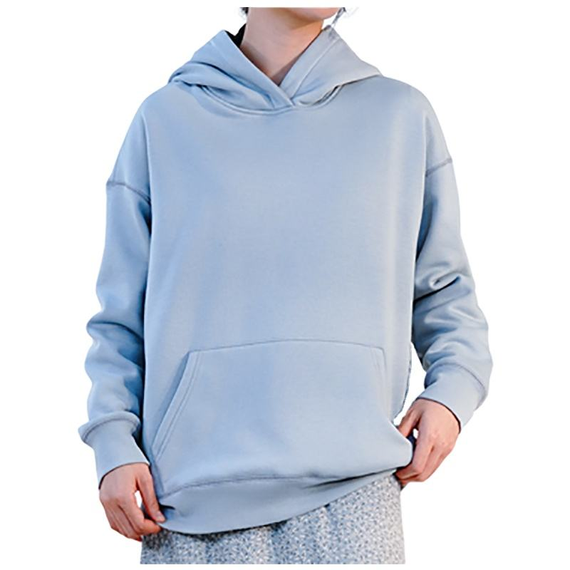 Women Fashion Warm Top Long Sleeve Casual Sport Hoodie Sweatshirt White and Blue With Patch Pocket