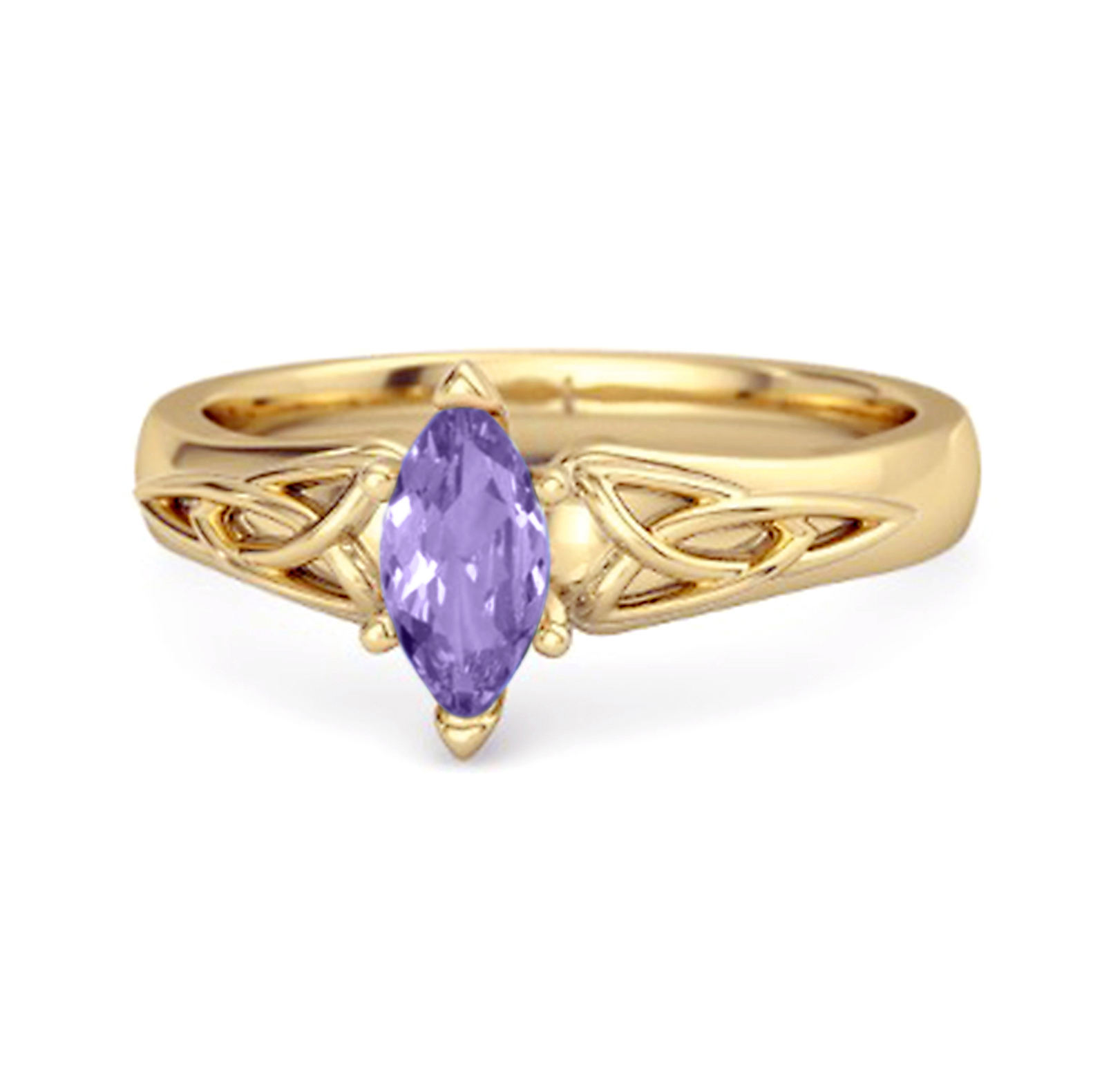 Celtic 0.25 Cts Amethyst Ring 925 Sterling Silver Trinity Knot Band Design Ring