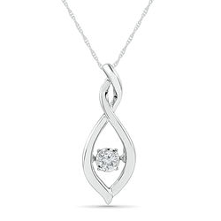 Sterling Silver White Round Diamond Fashion Pendant (0.03 CTTW)
