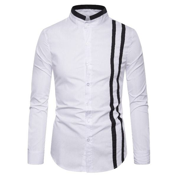 Men's Fashion Black-and-White Long-sleeved Shirts for Foreign Trade by EVERGLOW
