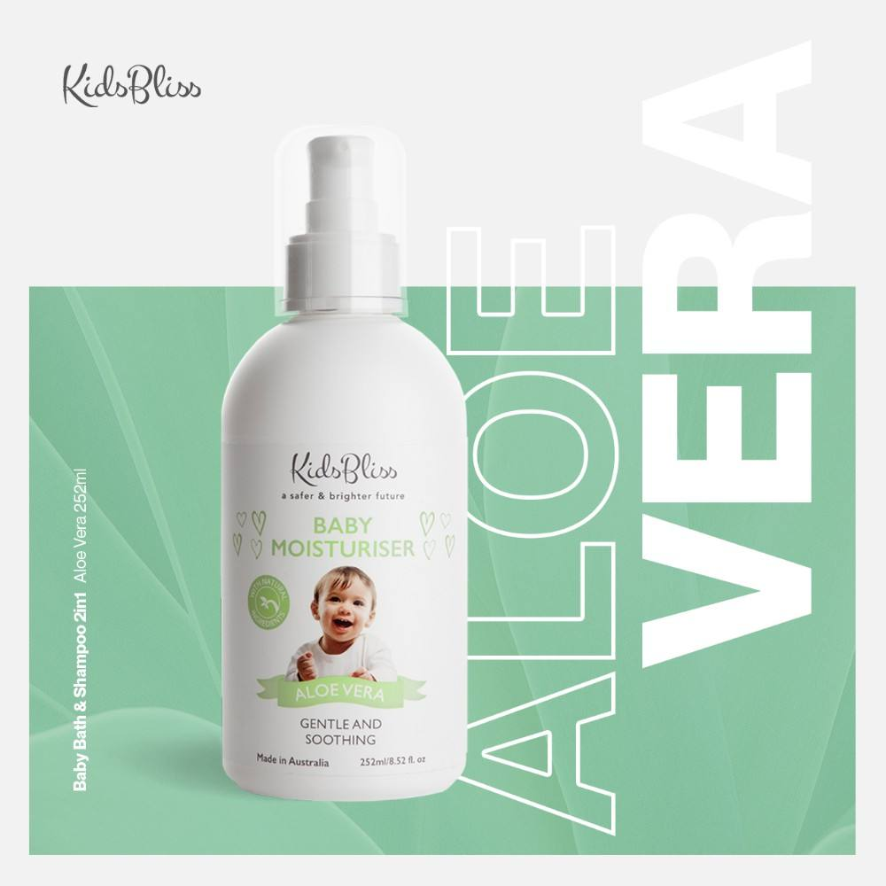 Organic Baby Moisturizer Lotion Aloe Vera Kidsbliss 252ml - paraben free Natural Ingredients Made in Australia
