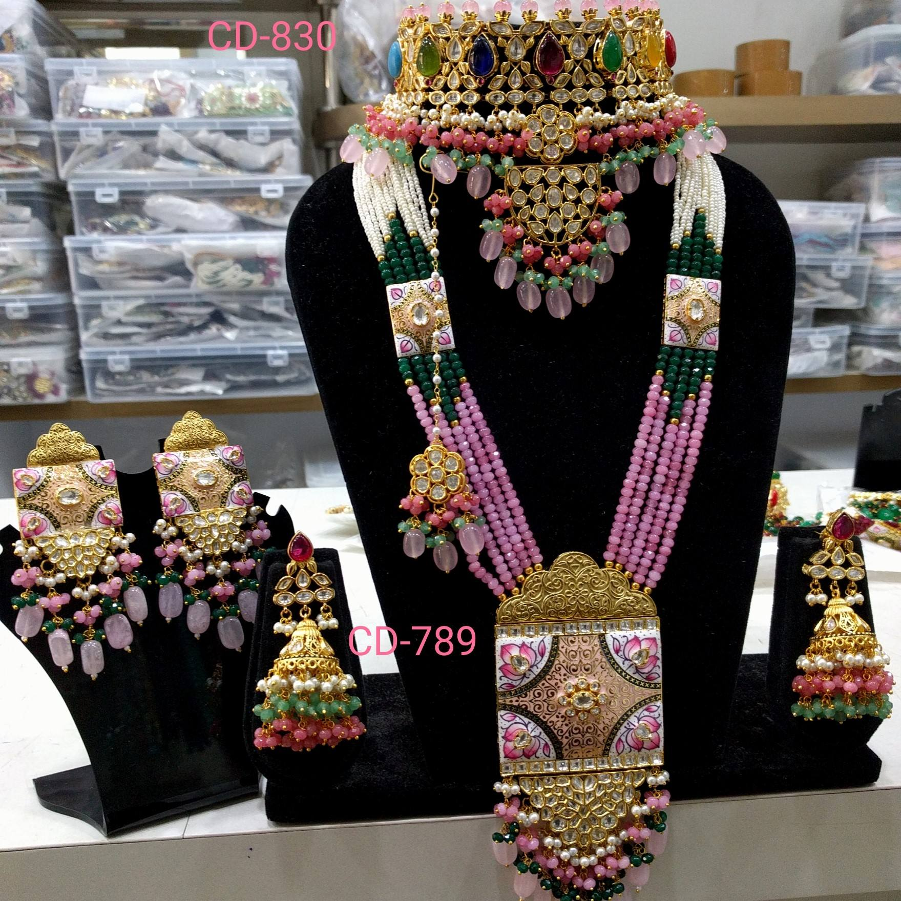 Latest Indian traditional kundan meena bridal set amazing choker with multi colour stone and beads best quality forever.
