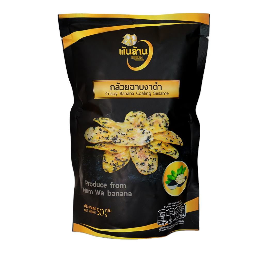 Popular Healthy Snack Sweet Banana Chips In Thailand Coating Sesame