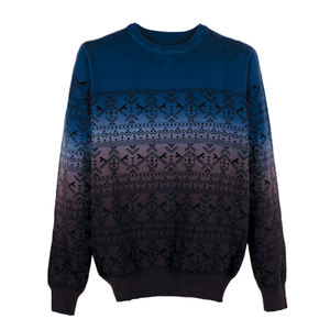 O Neck Gradient Color Knitted Sweater for Guys