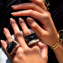 Rough Natural Brazilian Design Black Tourmaline On Matrix Carved Rings Jewelry Set