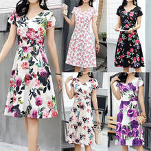 New Arrival Wholesale In Stock Women Fashion Tie V Neck   Sleeve Short Sleeve Color Block Floral Print Long Dress