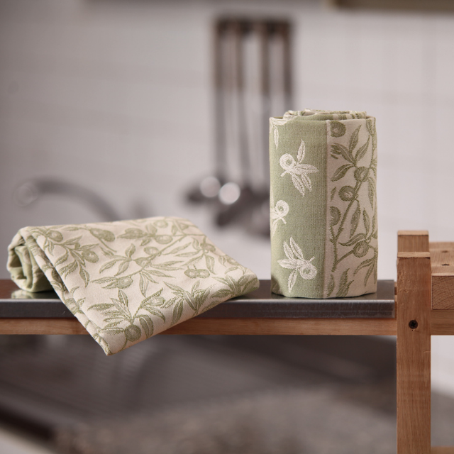 Olive Green Kitchen Towel - Olivo Selvatico BUSATTI - Fabrics for kitchen - Tea towels - Jacquard looms - Made in Italy fabrics