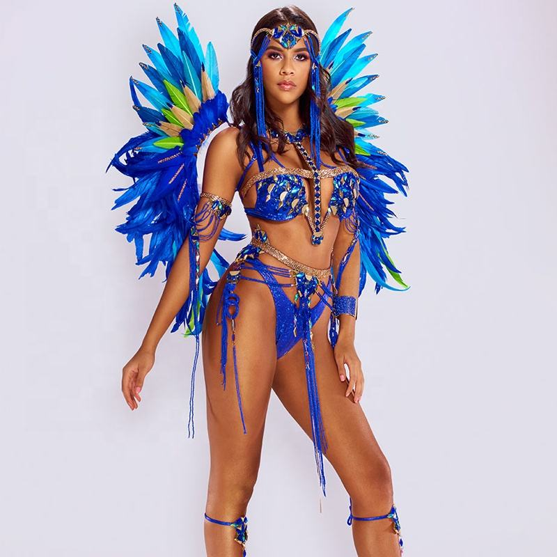 Feathers backpack samba caribbean Miami trinidad sexy Carnival Costume for women