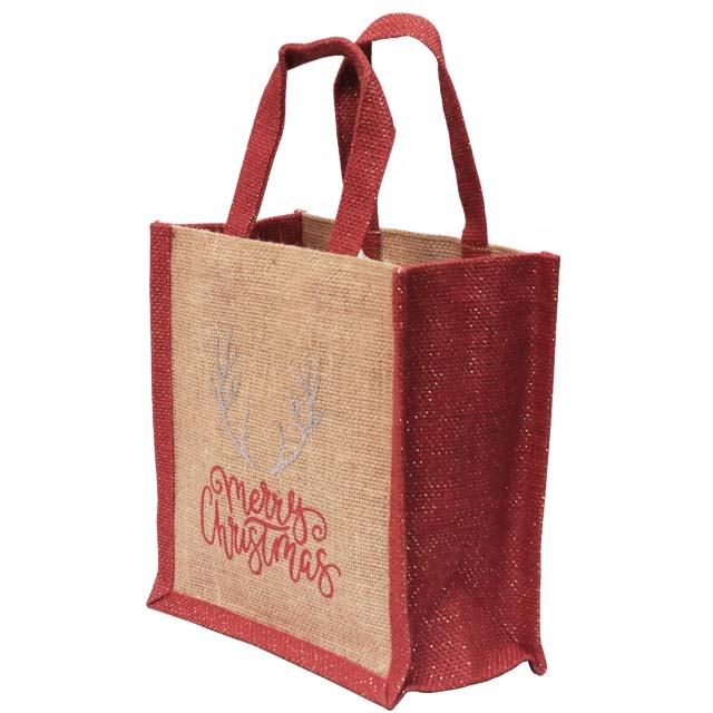 Gift Bag for Christmas / Natural Jute Customised Gift Bag with Red Gasset & Webbing Handle SA 8000-2014 Certified India Made