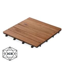 High quality acacia 06 slat outdoor interlocking wood deck flooring tiles with plastic base from Vietnam