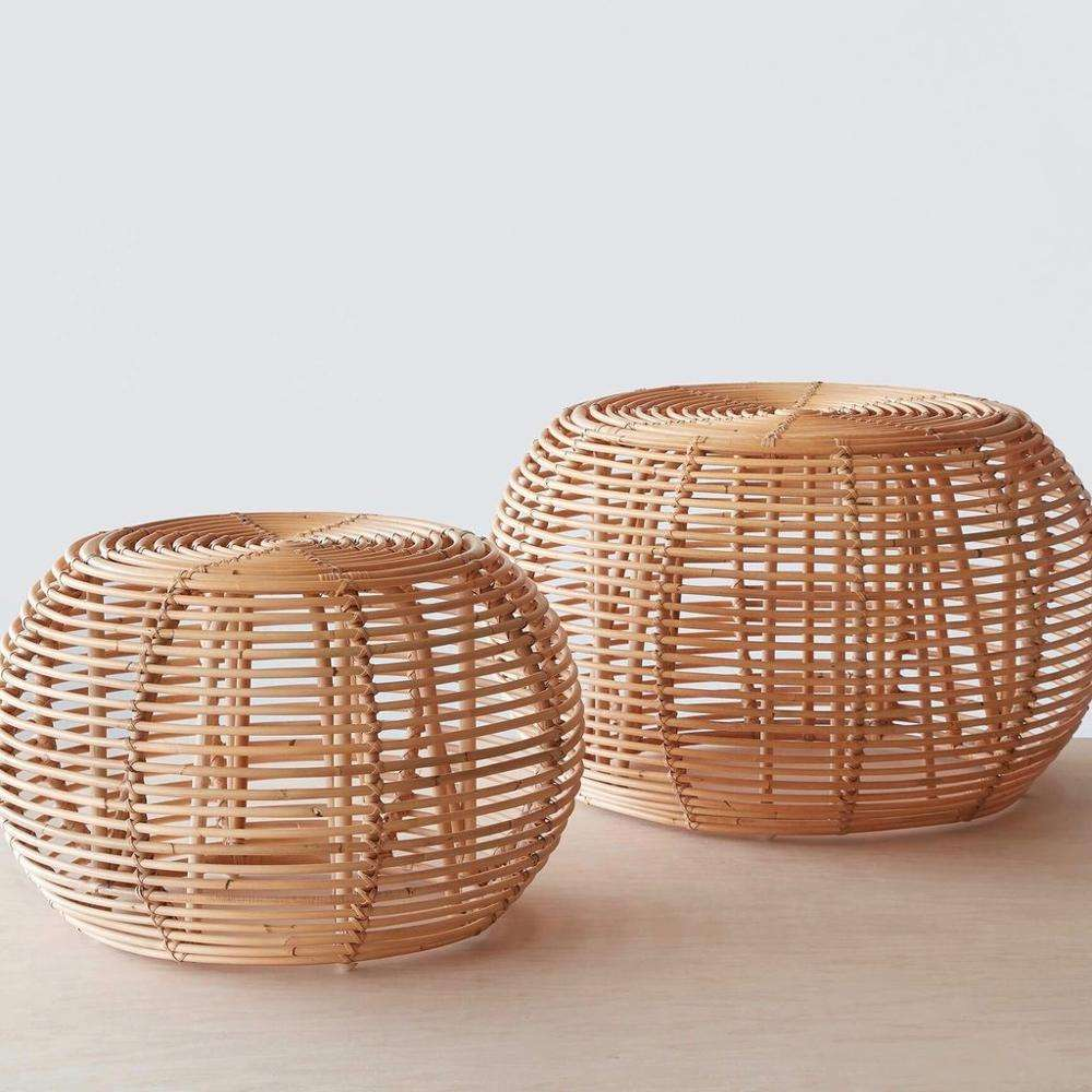 Natural round rattan ottoman for living room