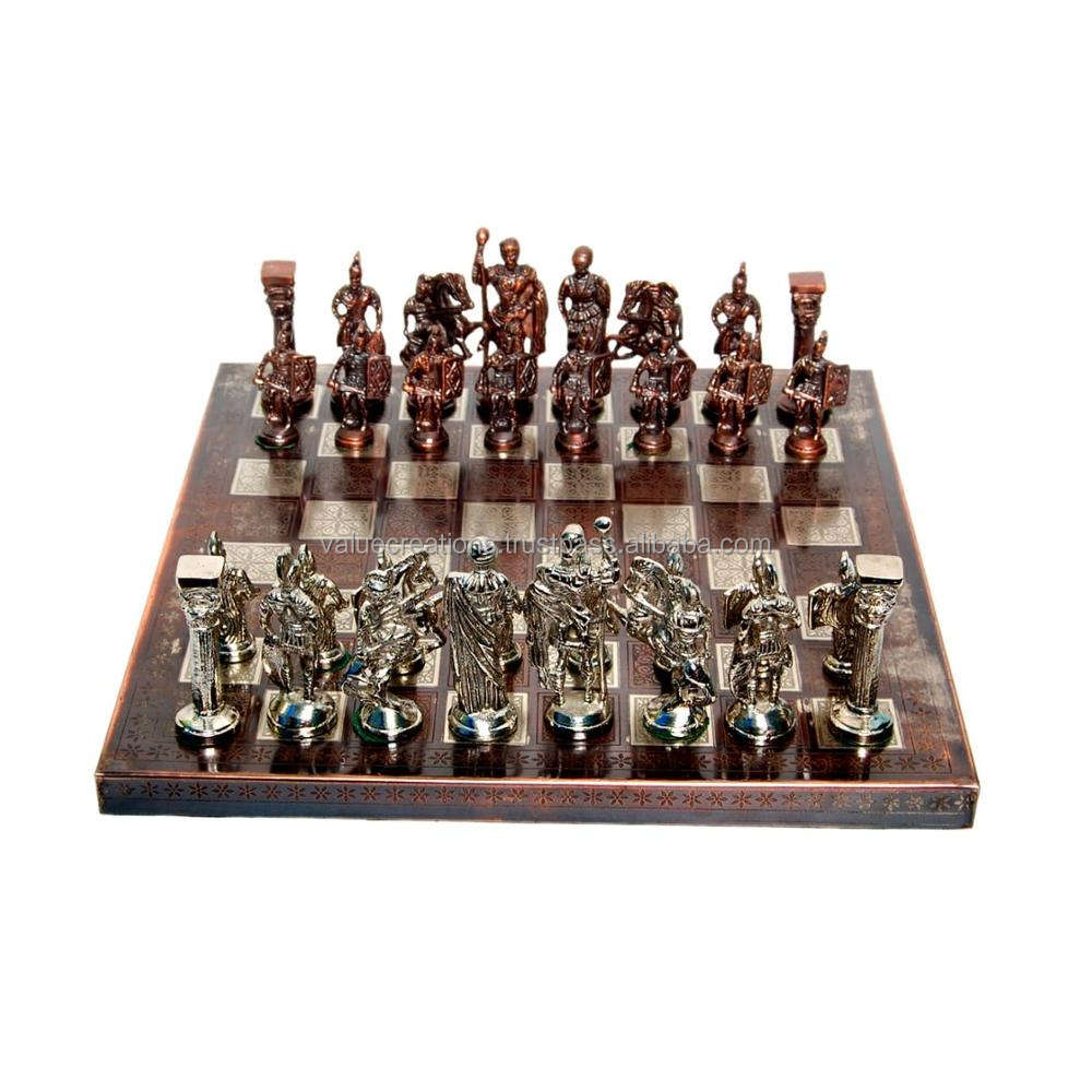 Copper & chrome Nickle players with wood and metal chess Board design