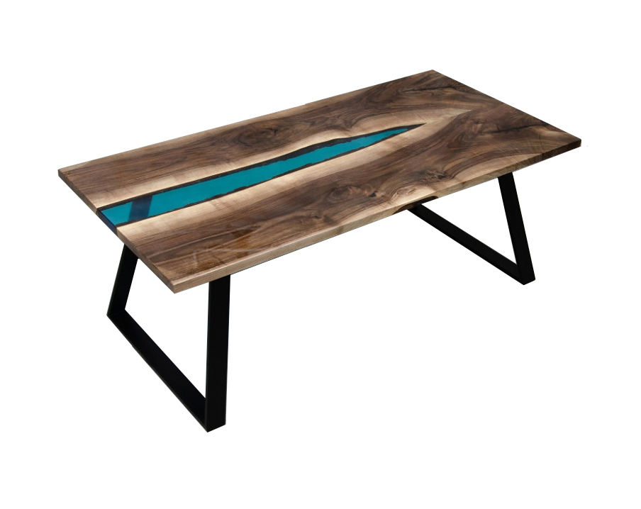 Rocking Blue Epoxy Resin Wooden Dining Table With Metal Leg