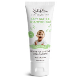 KidsBliss Baby Bath & Shampoo 2in1 50ml Aloe Vera - Baby Use -Australian Made - Chemical Free  -Pure Natural KB33