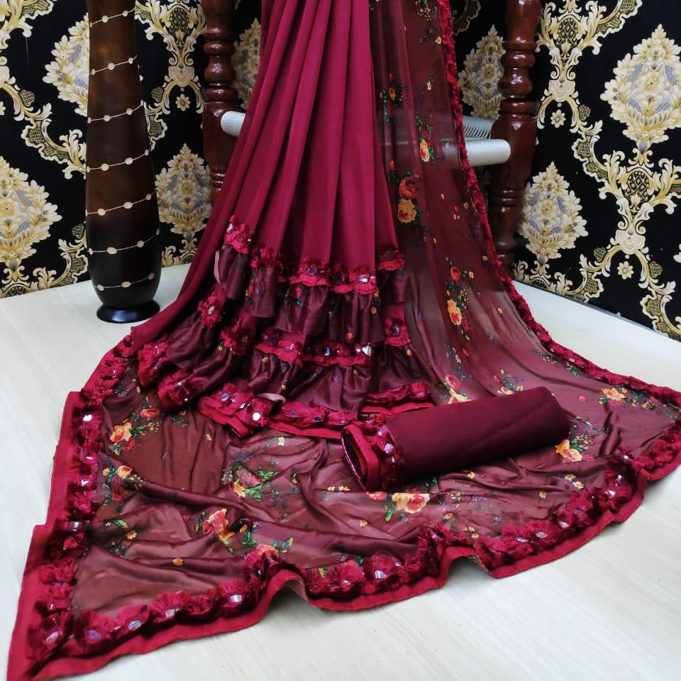 Designer silk saree heavy embroidered flower design soft fabric cotton silk maroon color sari with blouse piece in India Gujarat