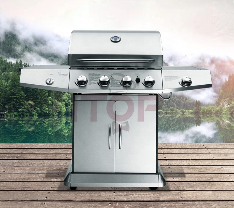 Outdoor Garden BBq Grill Large Gas Party Barbecue Machine 4 burners Gas grill Trolley For home bbq or commercial use