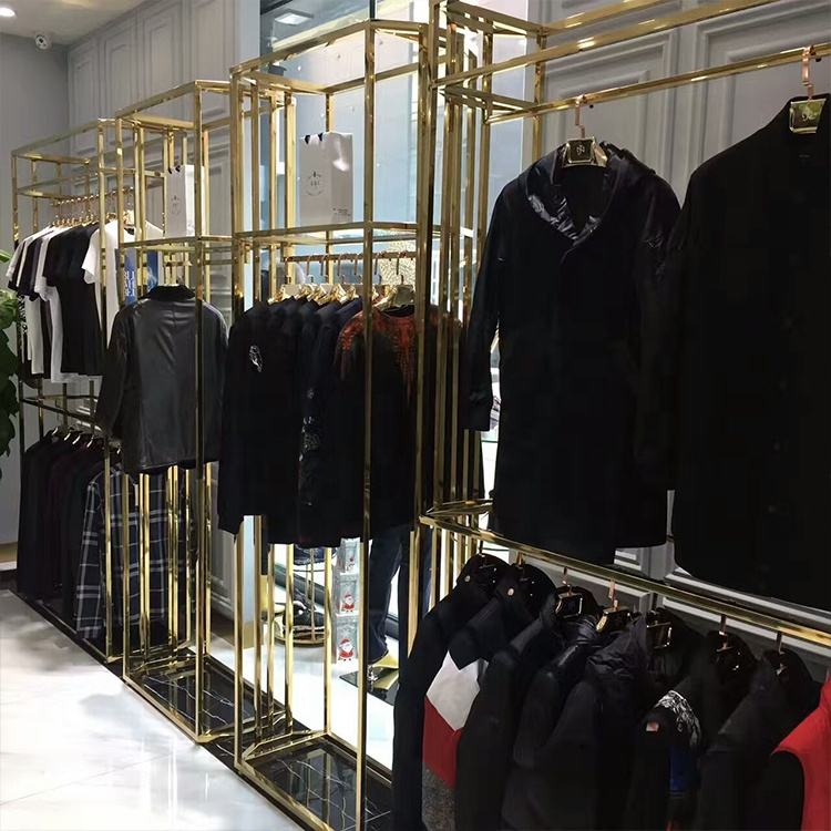 Gold Stainless Steel Landing Medium Island Shelf Factory Wholesale Price Display Stand For Clothing Shop Dress Display Rack