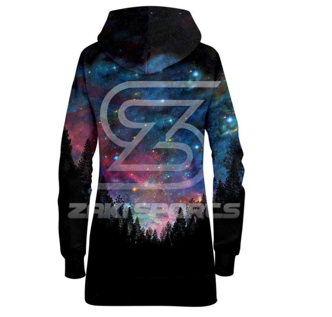 Galactic Valley (Front-Back) Vibrant Forest-Sky Cosmic 3D Graphic Print Long Sleeve Hooded