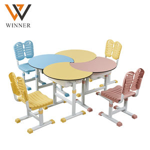 free combination kindergarten desk with chair daycare furniture lifted combined half-round table chair set