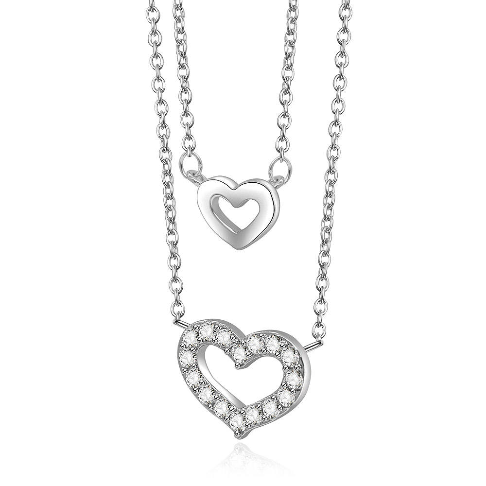 Crystal [ Jewelry Hearts ] Chain Necklace Wholesale Cheap Forever Jewelry 2 Hearts Double Chains I Love You Necklace