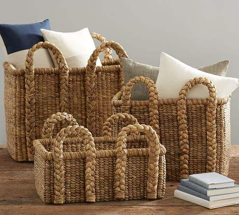 High quality best selling eco friendly woven water hyacinth baskets with handles from Vietnam