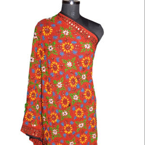 Hand Embroidered Phulkari Scarves Wrap Vintage Dupatta Long Stole Georgette OOAK