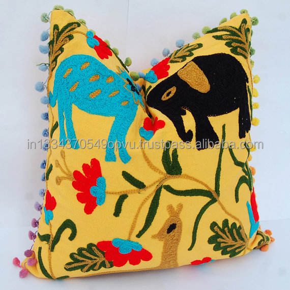 Yellow Animal World Embroidered Back Support Cushion Cover Boho Cotton Handmade Folk Art Decorative Designer Modern Pillow Case