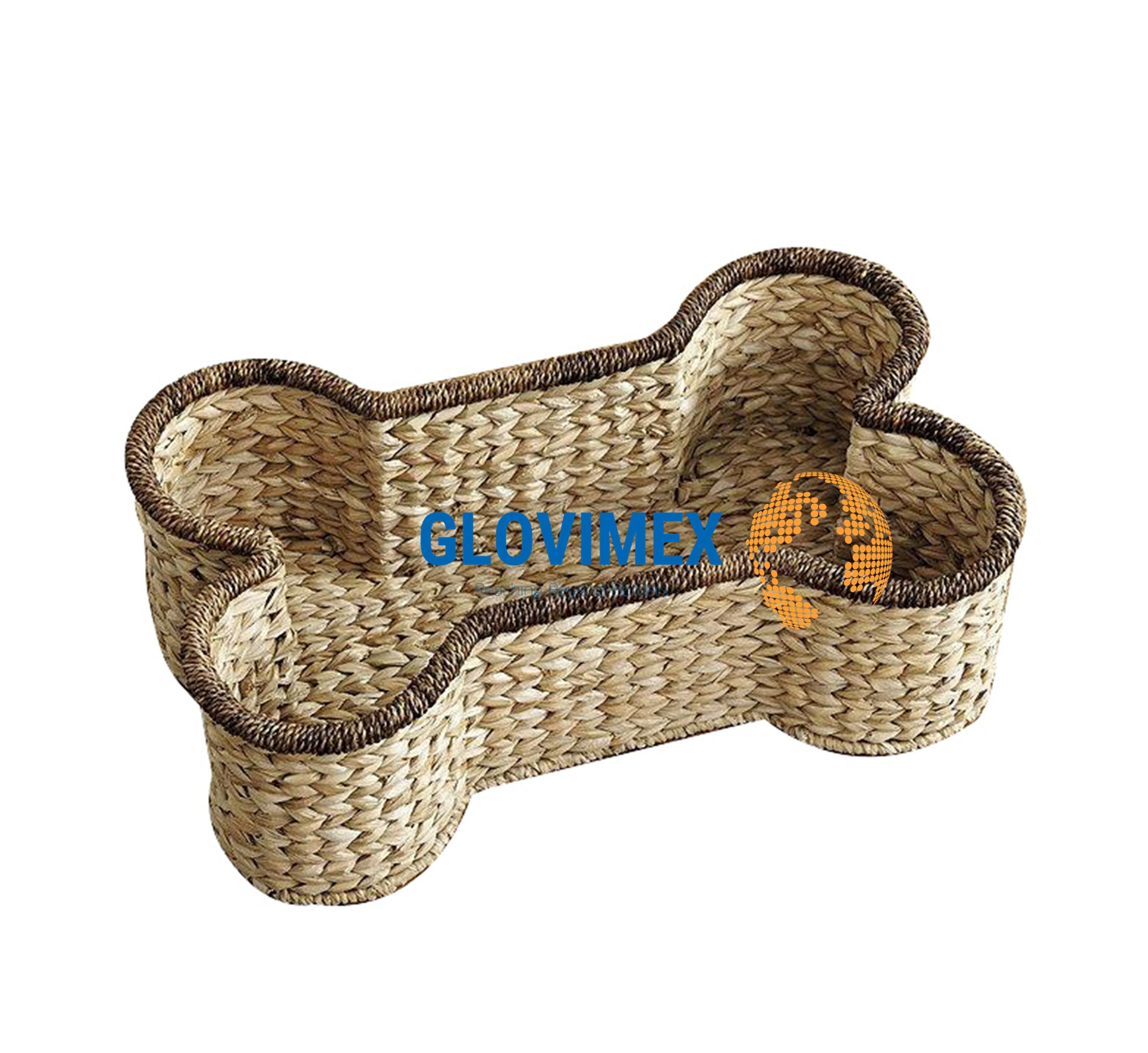 Wholesale Handmade Cute Dog Bone Water Hyacinth Basket Laundry Or Toy Storage Made By Vietnamese Artisans