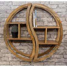 Solid wooden round wall hanging shelf, wooden decorative shelf/Solid Mango wood 2 part round wall mounted shelving unit