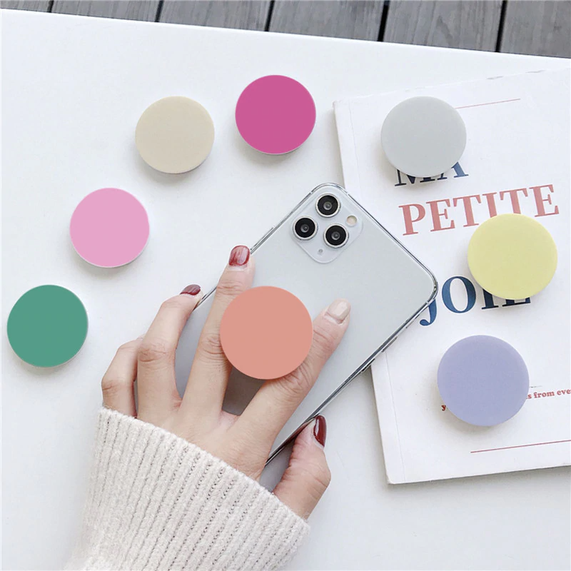 Universal Solid Color Phone Holder Round Finger Ring Stand Griptok Grip Ring Shrink Solid Color Phone Holder