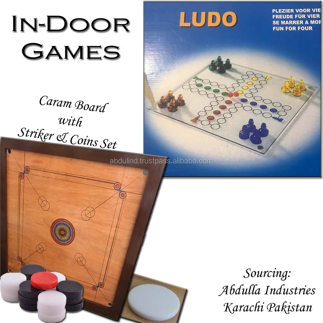 Indoor Games Ludo - Indoor Game Carrom board with coins & striker Chess SPECIALLY GLASS CHESS GAME