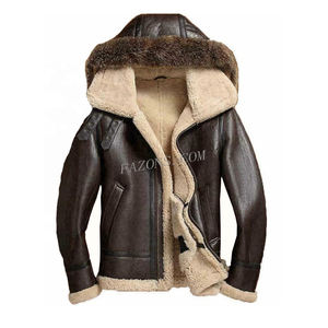 Men Hooded Flying Pilot Bomber Fur Shearling Leather Jacket Removable Hood warm Filling Winter Wear Coat Biker Sheepskin Jacket