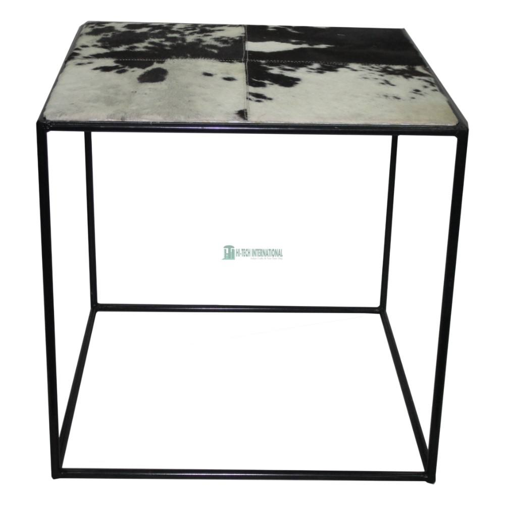 Faux Leather Metal Coffee Tables - Black Square Large Stainless Steel Center Tables - Cheap Bulk Handmade Living Room Tables