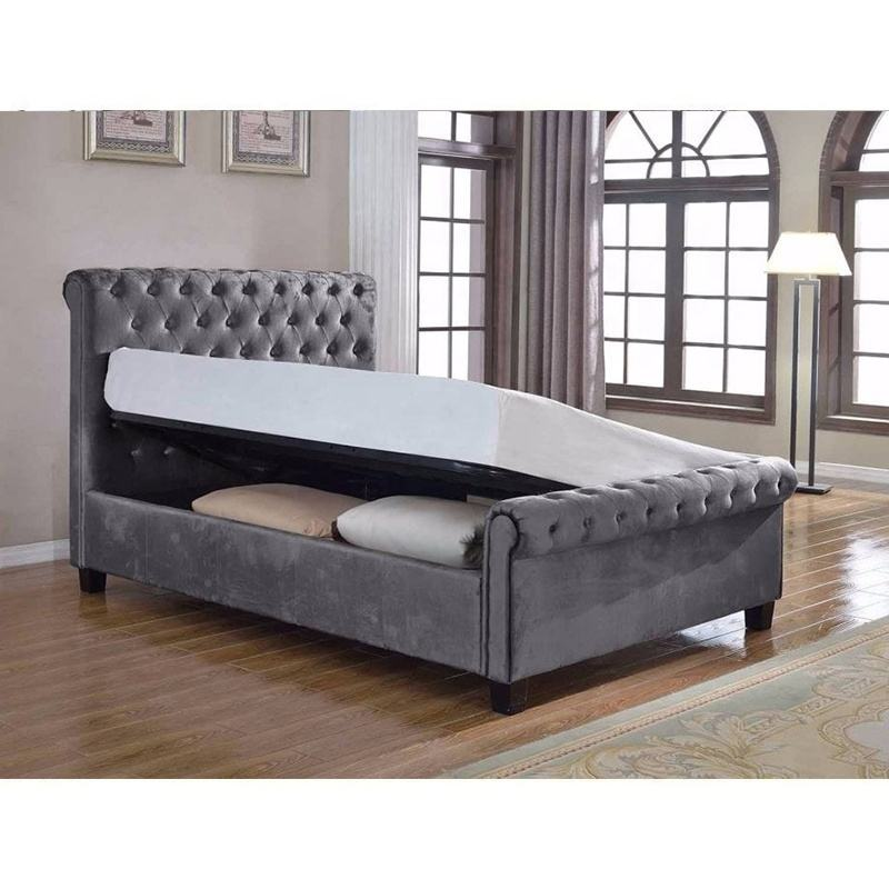 Modern design queen size polyester fabric upholstered bed frame with storage